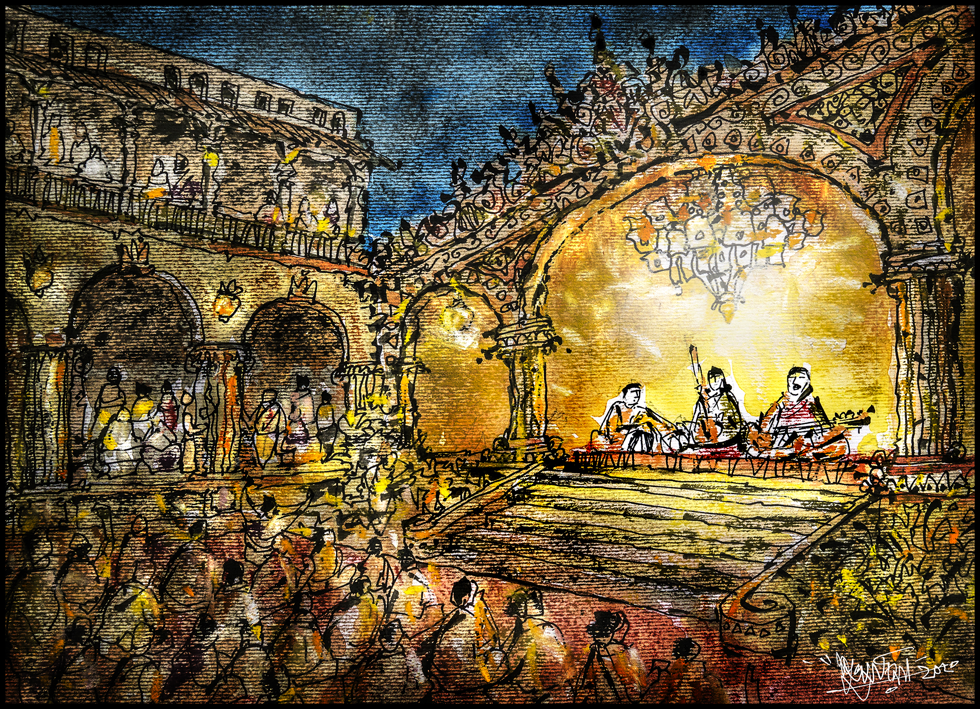 scene from a classical concert at a royal mansion বনেদি বাড়ির জলসা