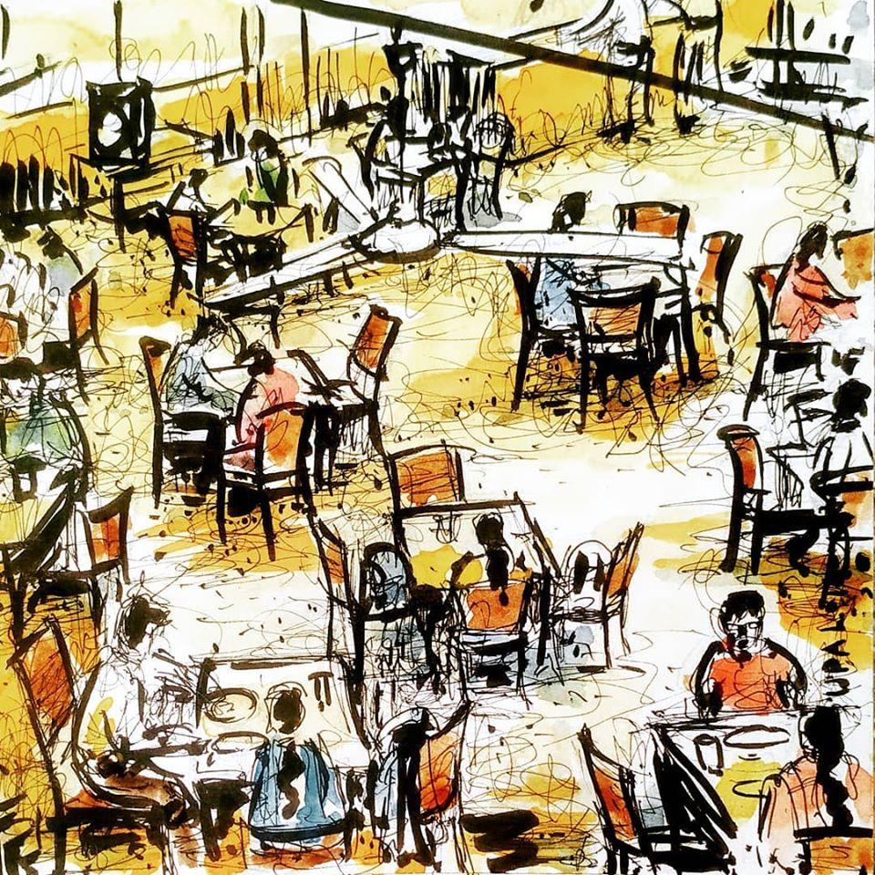 কফি হাউসের আড্ডায় গানের চর্চা discussing music over coffee at coffee house