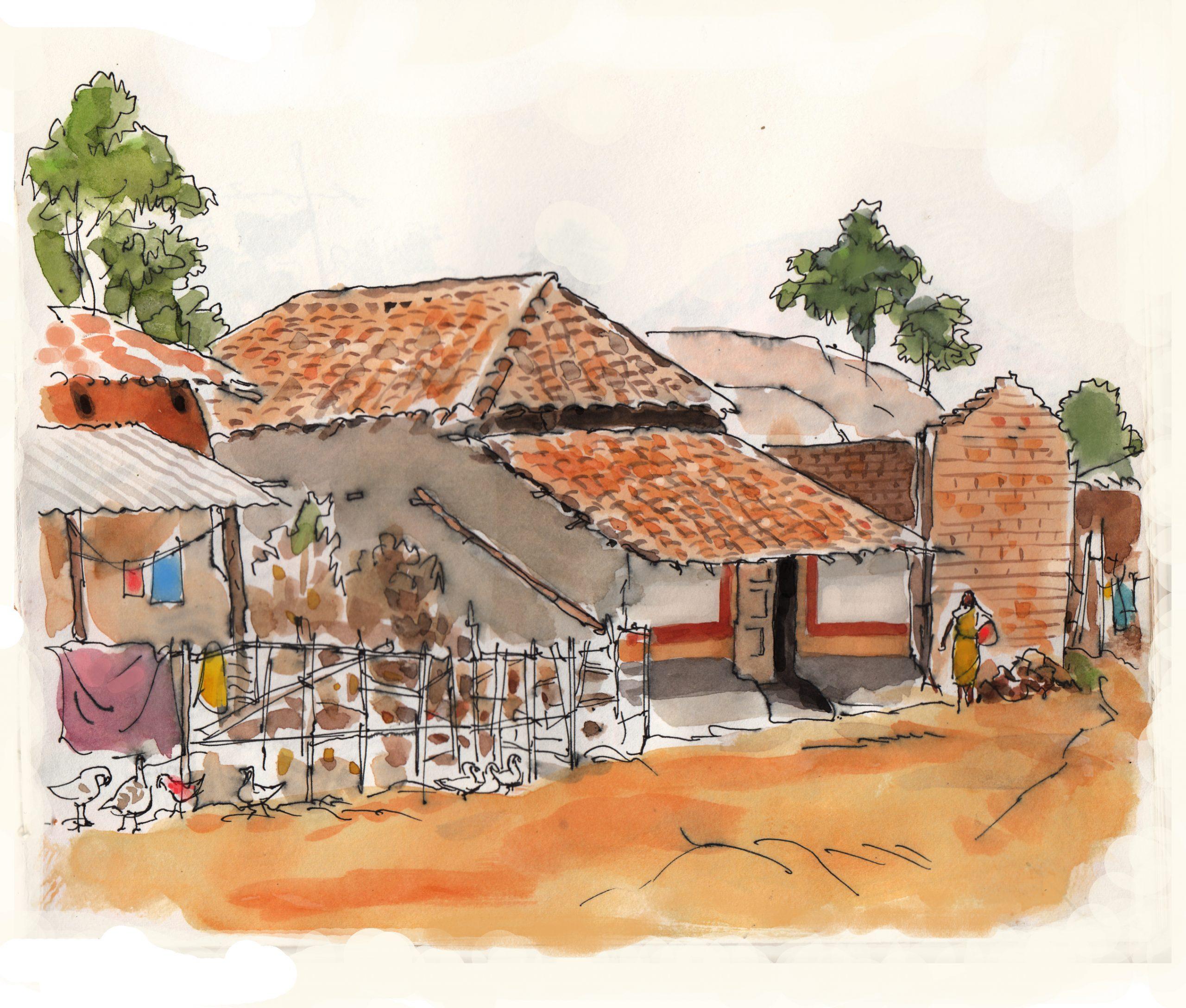 Illustrations by Debasis Deb পাহাড়ের মাথায় গ্রাম