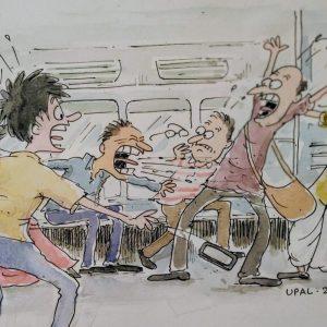Illustration on Coronavirus panic by Upal Sengupta