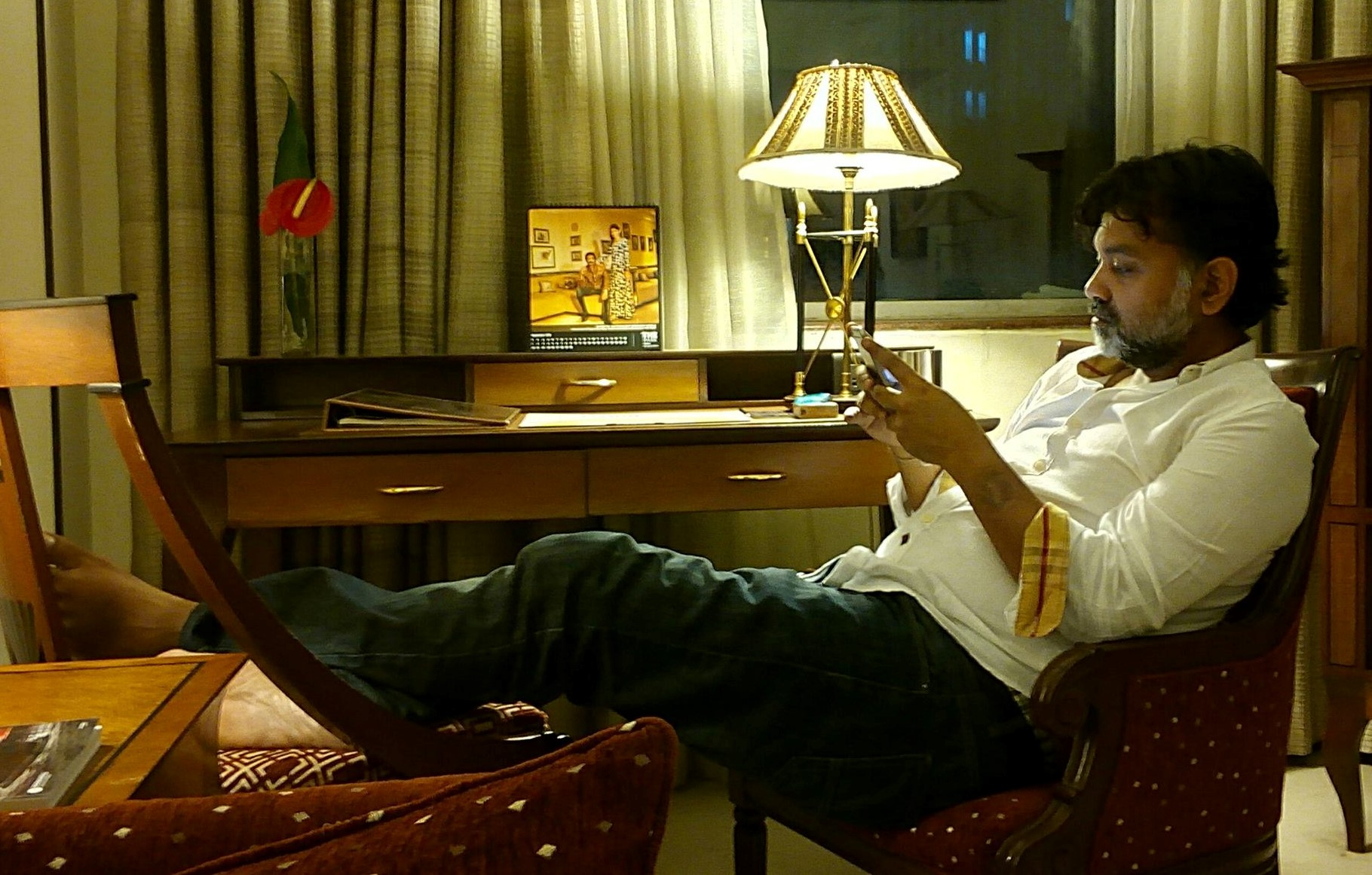 srijit with mobile