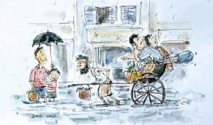 Illustration by Upal Sengupta on Hand pulled Rickshaw
