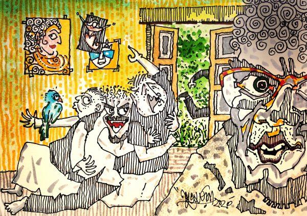 hostel life illustration by Suvomoy Mitra