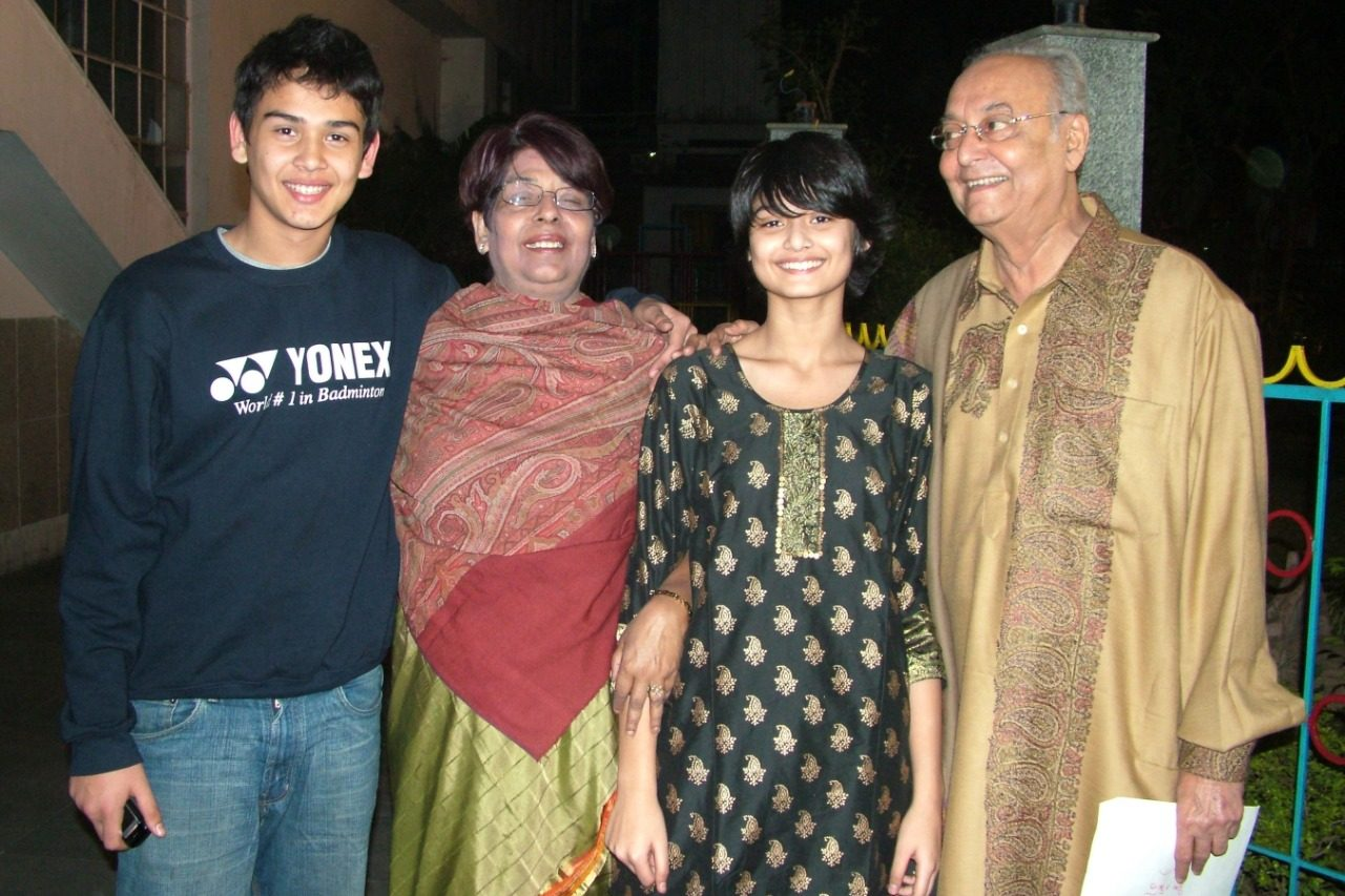 Soumitra and Deepa Chatterjee with grandchildren